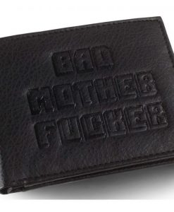 x_bmf00060 Bad Mother Fucker Wallet Black Large Logo Embossed