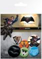 Batman v Superman Dawn of Justice Pin Badges 6-Pack Mix