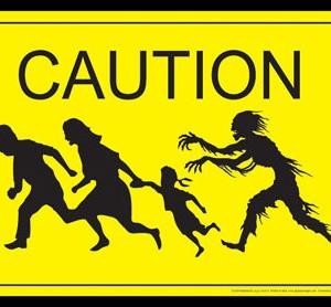 Zombie Caution Fém Tábla