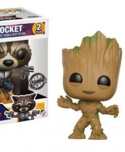 x_fk15096 Guardians of the Galaxy 2 POP! Marvel Vinyl Figures 2-Pack Groot & Rocket 9 cm