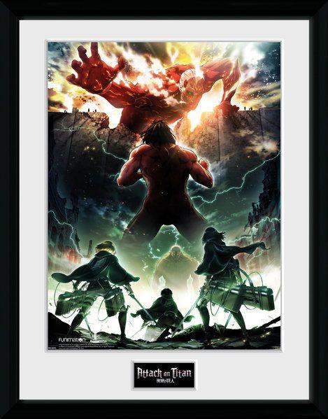 x_gye-pfc2595 Attack on Titan Season 2 Framed Poster Key Art 45 x 34 cm