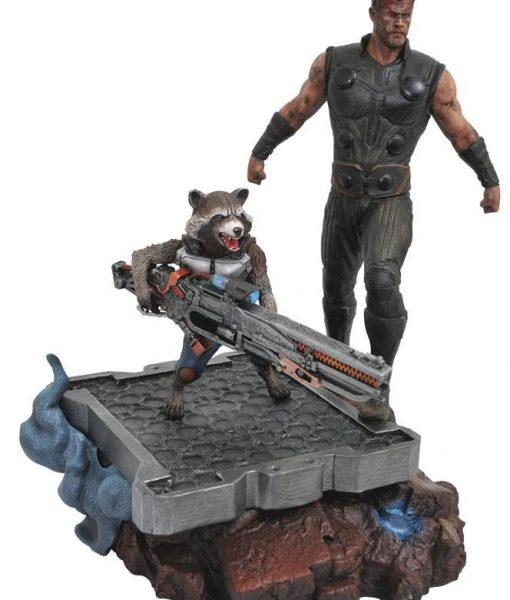 x_diamapr182163 Avengers Infinity War Marvel Premier Collection Statue Thor & Rocket Raccoon 30 cm
