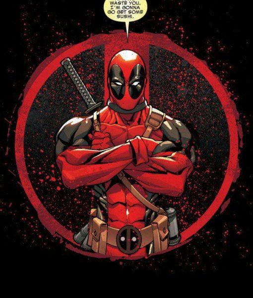 x_ppl-122723se Marvel Comics Metal Poster Deadpool Merc with a Mouth Evening Plans 10 x 14 cm