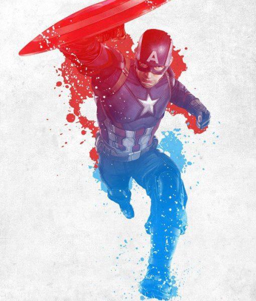 x_ppl-123285se Marvel Comics Metal Poster Civil War Red White and Blue Cap America 10 x 14 cm