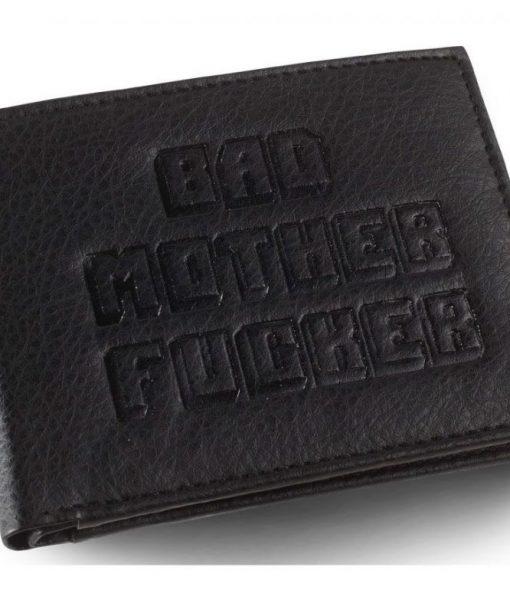 x_bmf00060 Bad Mother Fucker Wallet Black Large Logo Embossed