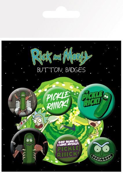 x_gye-bp0743 Rick and Morty Pin Badges 6-Pack Pickle Rick