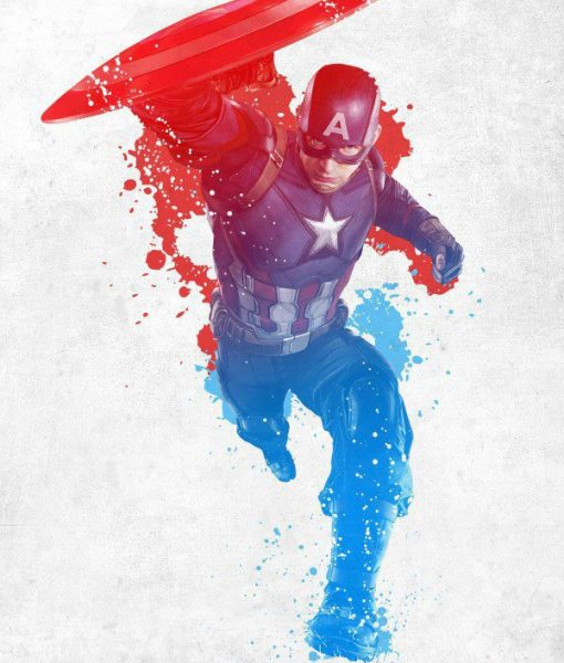 x_ppl-123285se Marvel Comics Metal Poster Civil War Red White and Blue Cap America 10 x 14 cm