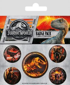 x_bp80622 Jurassic World Fallen Kingdom Pin Badges 5-Pack